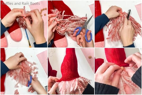 photo collage tutorial of how to make valentines sock gnomes