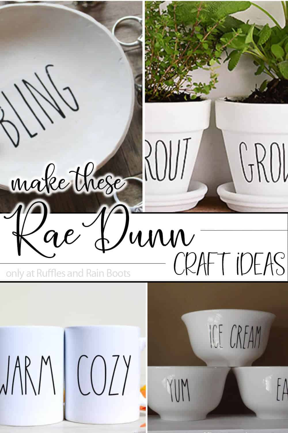 photo collage of farmhouse rae dunn craft ideas with text which reads make these rae dunn craft ideas