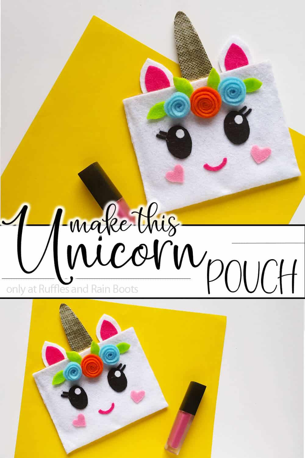 photo collage of unicorn pencil bag with text which reads make this unicorn pouch