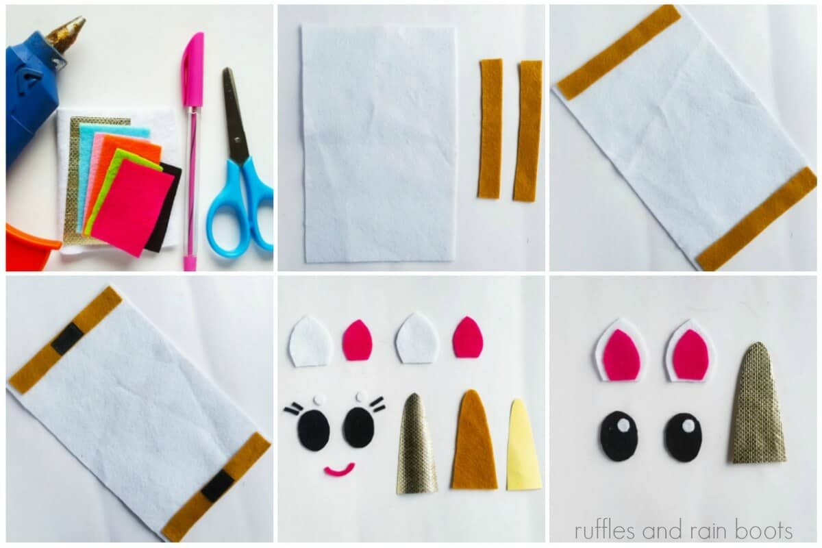 photo collage tutorial of How to make a Unicorn Pouch Collage 1