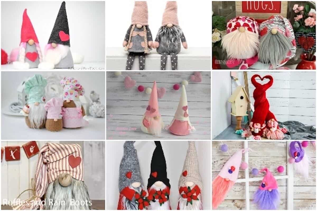 photo collage of easy valentines day gnomes