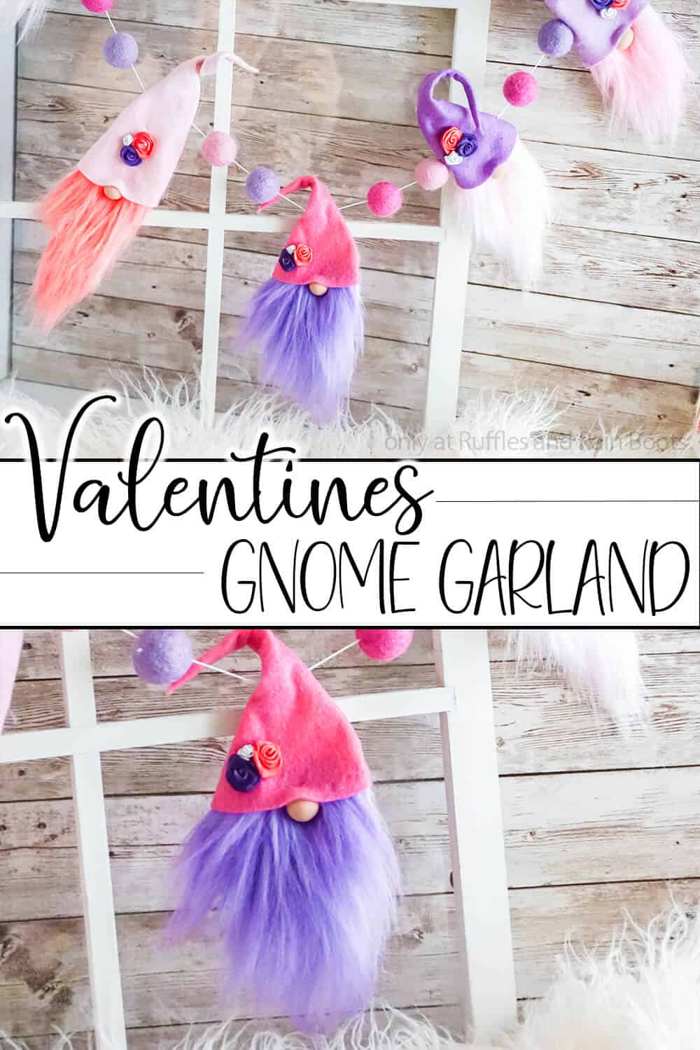 photo collage of diy garland with gnomes with text which reads valentine gnome garland