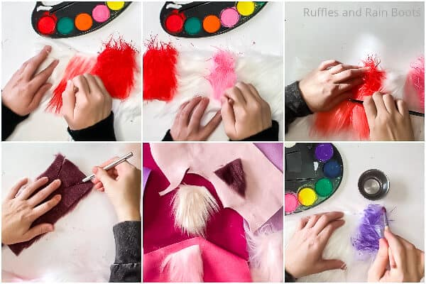 photo collage tutorial of how to make a gnome valentine garland