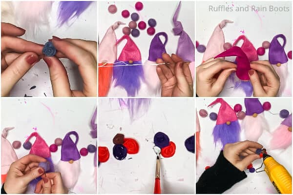 photo collage tutorial of how to make a garland with gnomes for valentines