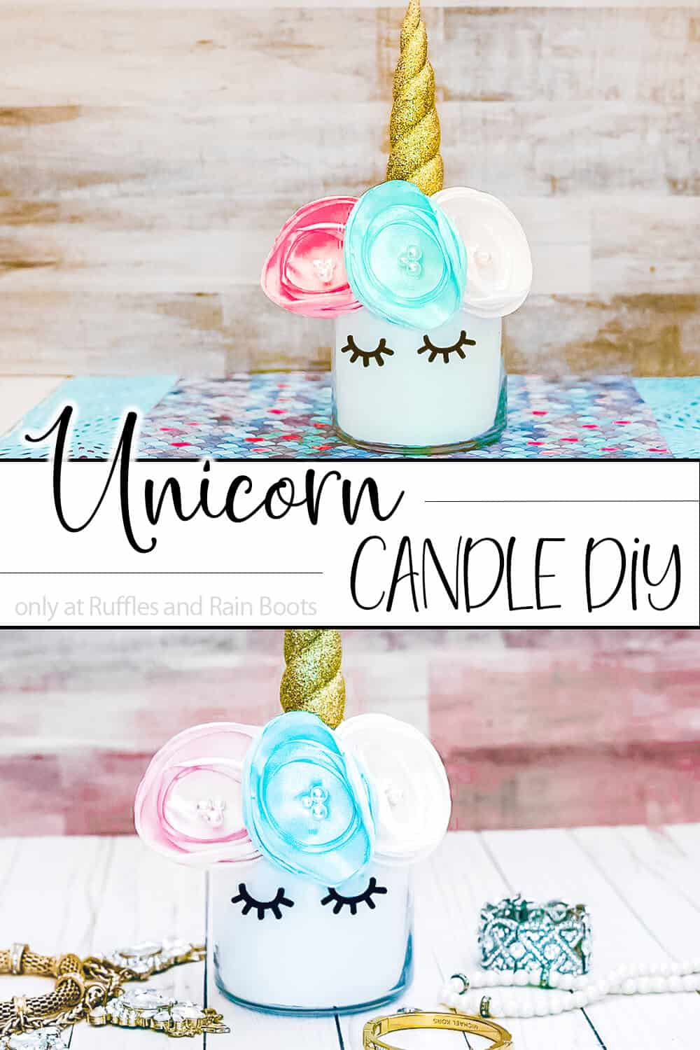 photo collage of candle with unicorn decoration with text which reads unicorn candle diy