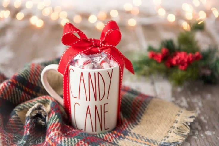 Cute Rae Dunn Inspired Candy Cane Mug with Free Christmas SVGs!