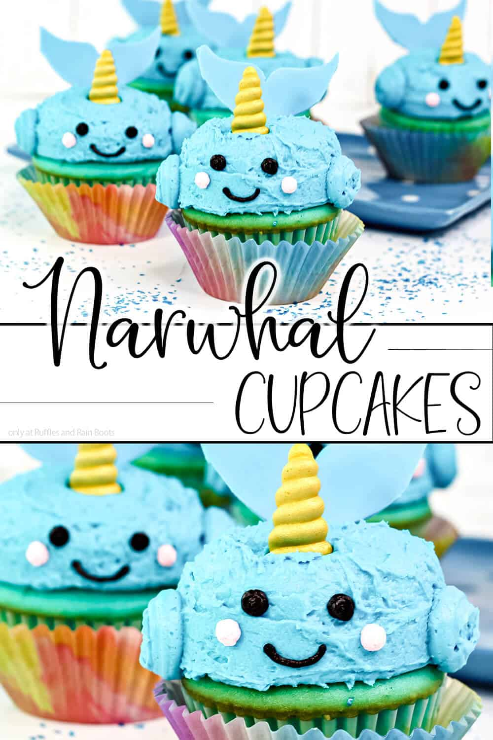photo collage of kawaii cupcake decorating idea for narwhals with text which reads narwhal cupcakes for mermaid party