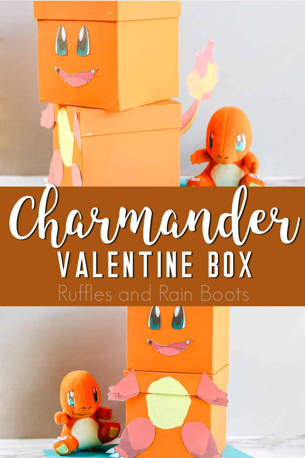 photo collage of pokemon valentine craft idea for kids with text which reads charmander valentine box for kids