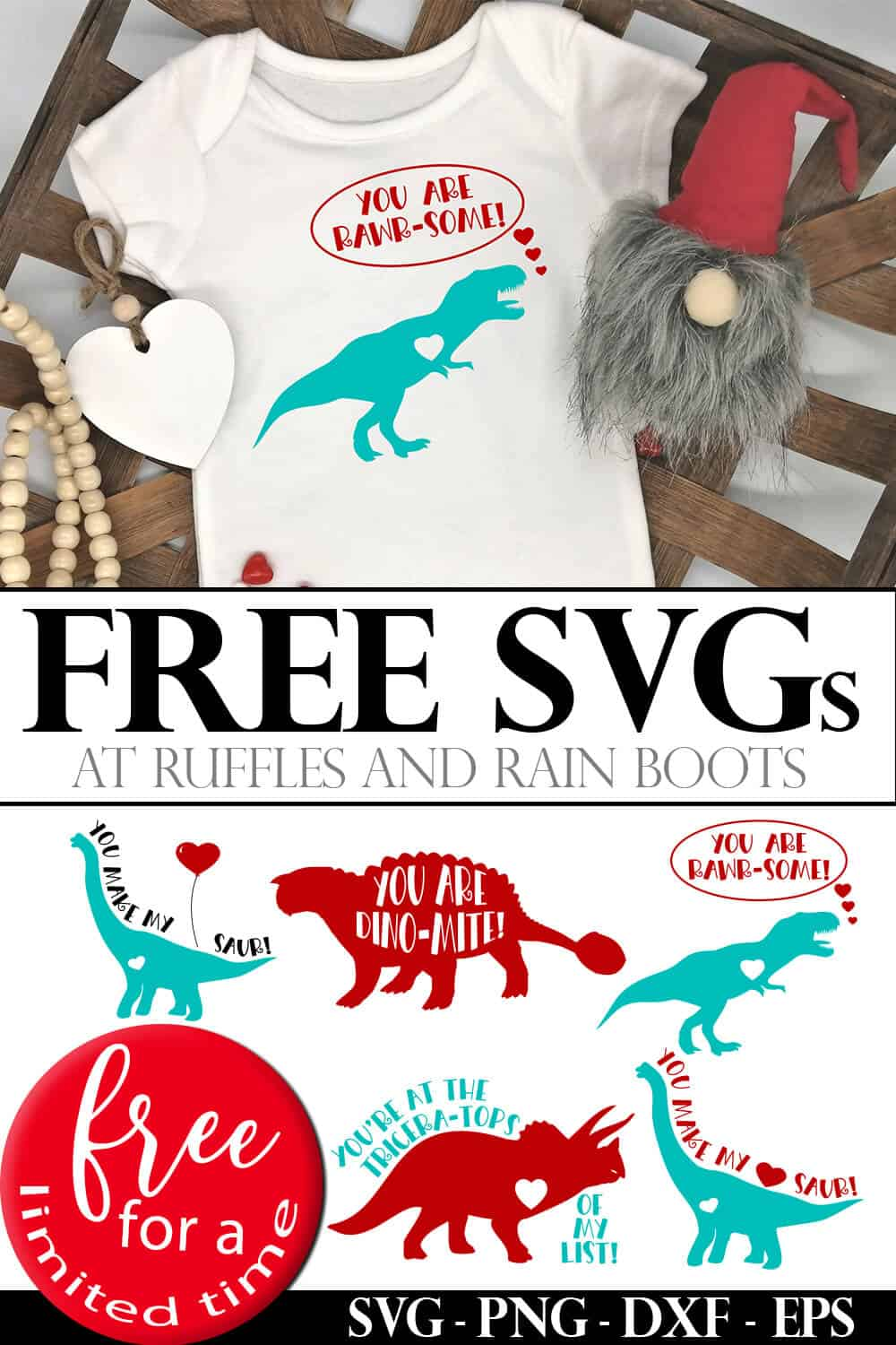 photo collage of baby onesie with dinosaur cut file with text which reads free svgs