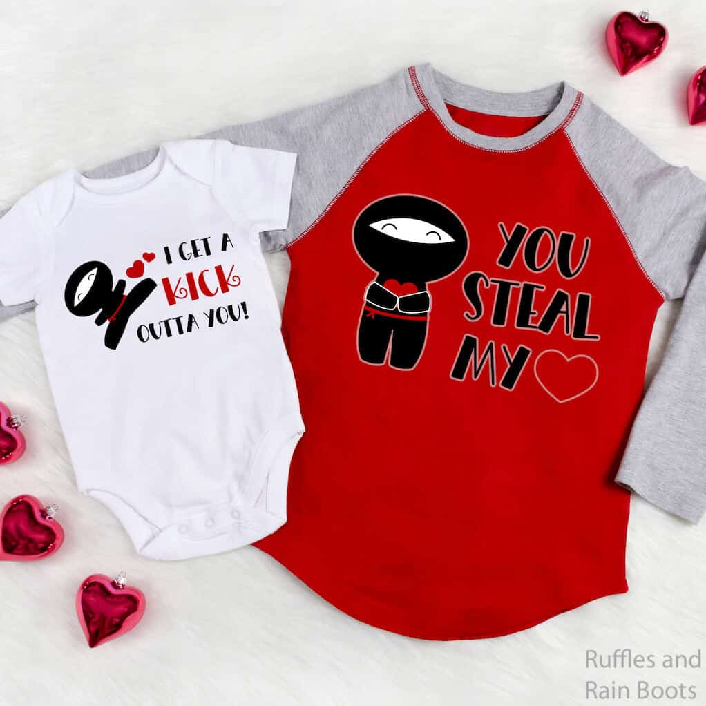 mom and baby shirts with ninja valentine cut files for cricut or silhouette