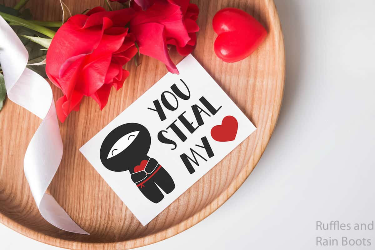 card with ninja valentines svg for cricut or silhouette