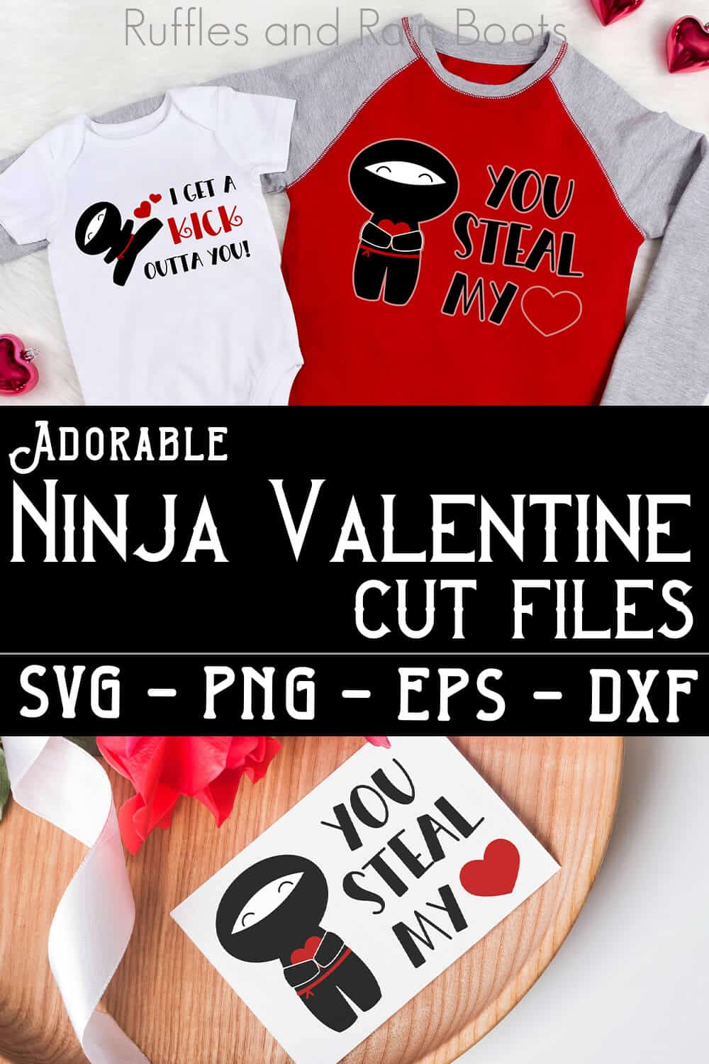 photo collage of tshirts and valentines card with valentine ninja cut files with text which reads adorable ninja valentine cut files svg png eps dxf