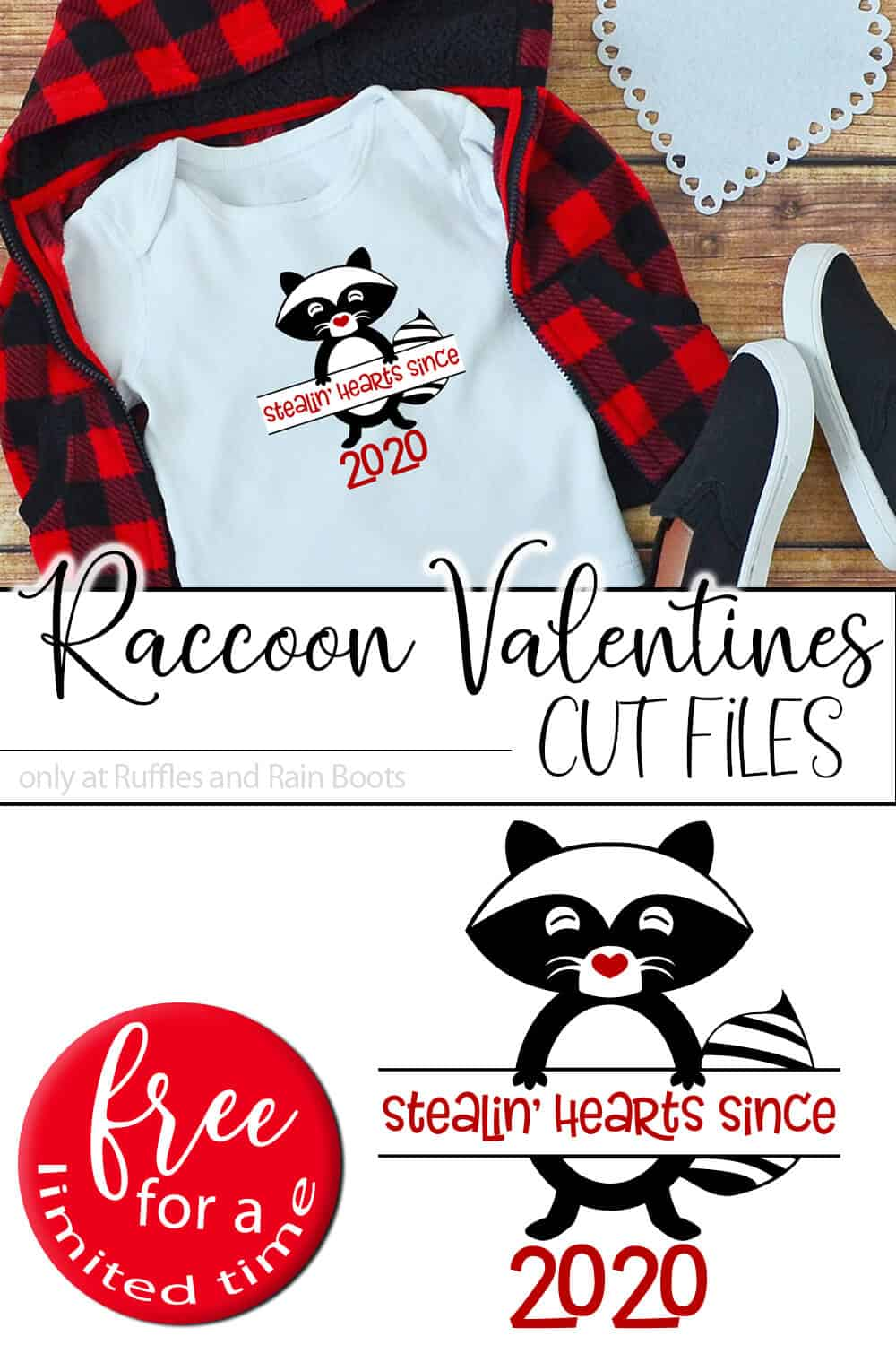 photo collage of kid shirt with the raccoon cut file for cricut or silhouette with text which reads raccoon valentines cut files