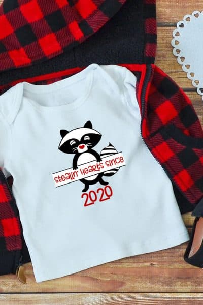 raccoon SVG for valentines on a kid shirt