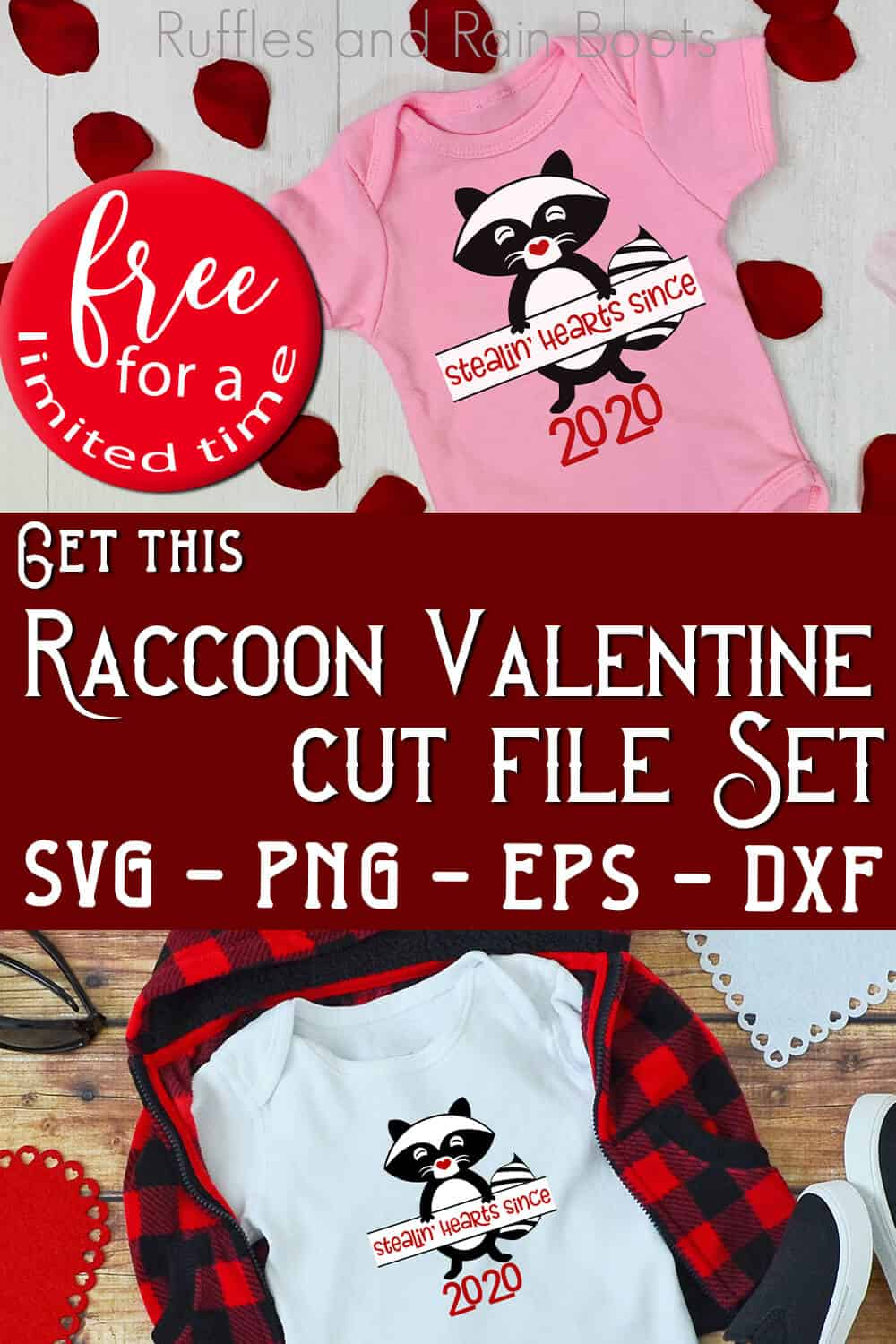 photo collage of baby onesie and kid shirt with raccoon svg for valentines with text which reads get this raccooon valentine cut files set svg png eps dxf