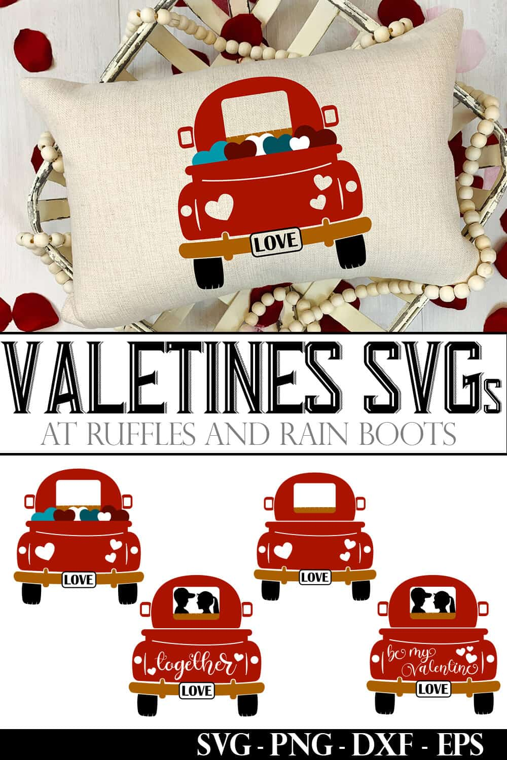 photo collage of pillow with examples of other farm truck tailgate valentines svgs for cricut or silhouette with text which reads valentines svgs