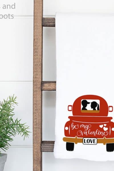 valentines farmtruck tailbed on a kitchen towel