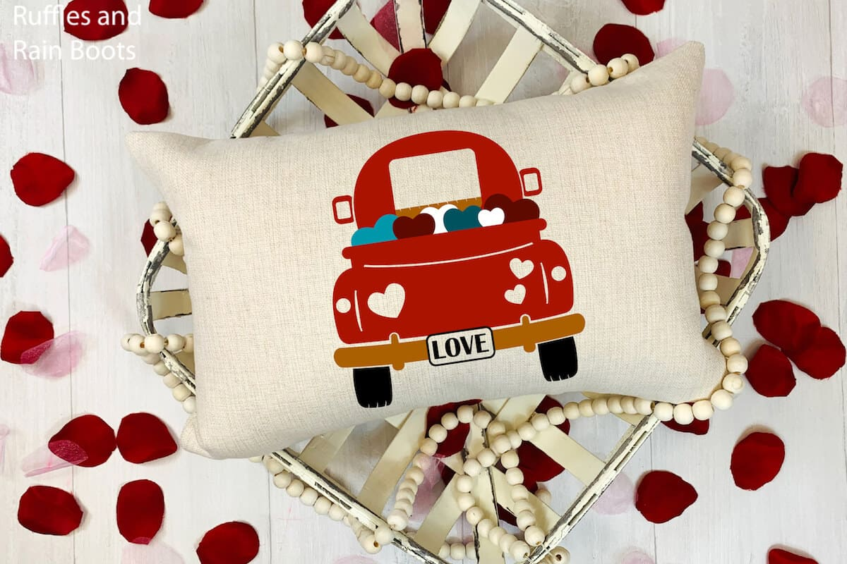 valentines back of truck svg on a towel