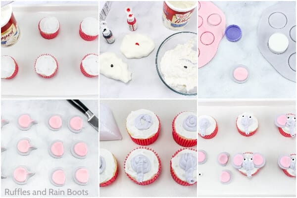 photo collage tutorial of how to make dumbo cupcakes