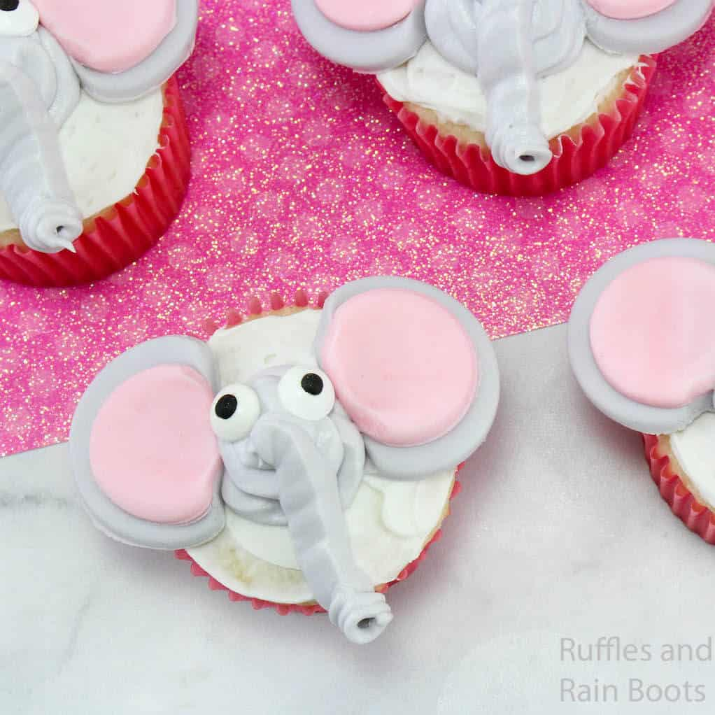 overhead view of how to make dumbo cupcakes for a movie night