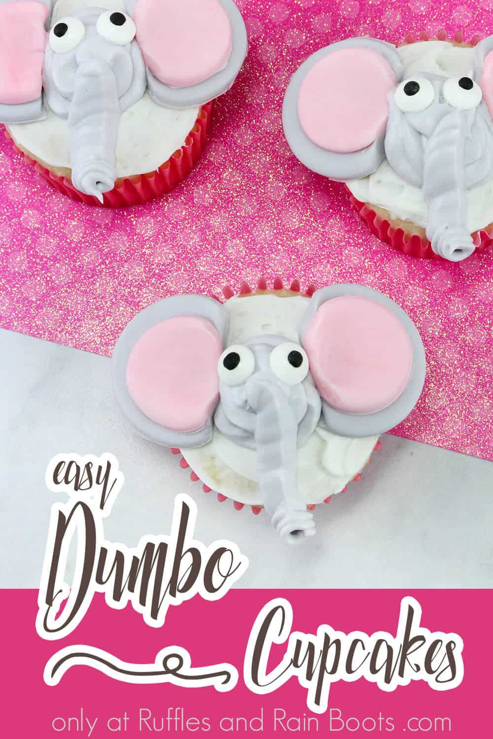 overhead view of elephant cupcakes with text which reads easy dumbo cupcakes
