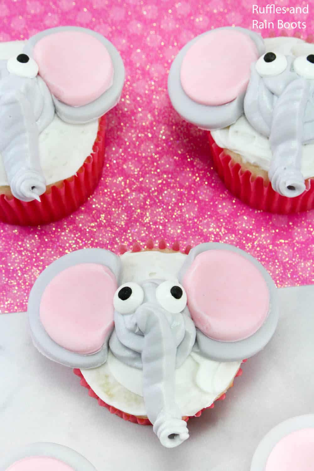 overhead view of dumbo cupcake decorating idea for a movie night