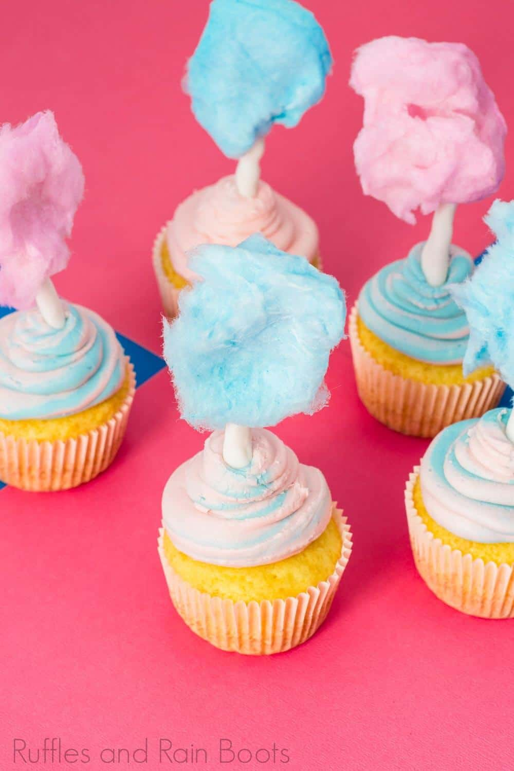 birthday party cupcakes with cotton candy on top