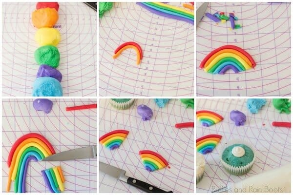photo collage tutorial of step 2 how to make a fondant rainbow for cupcakes