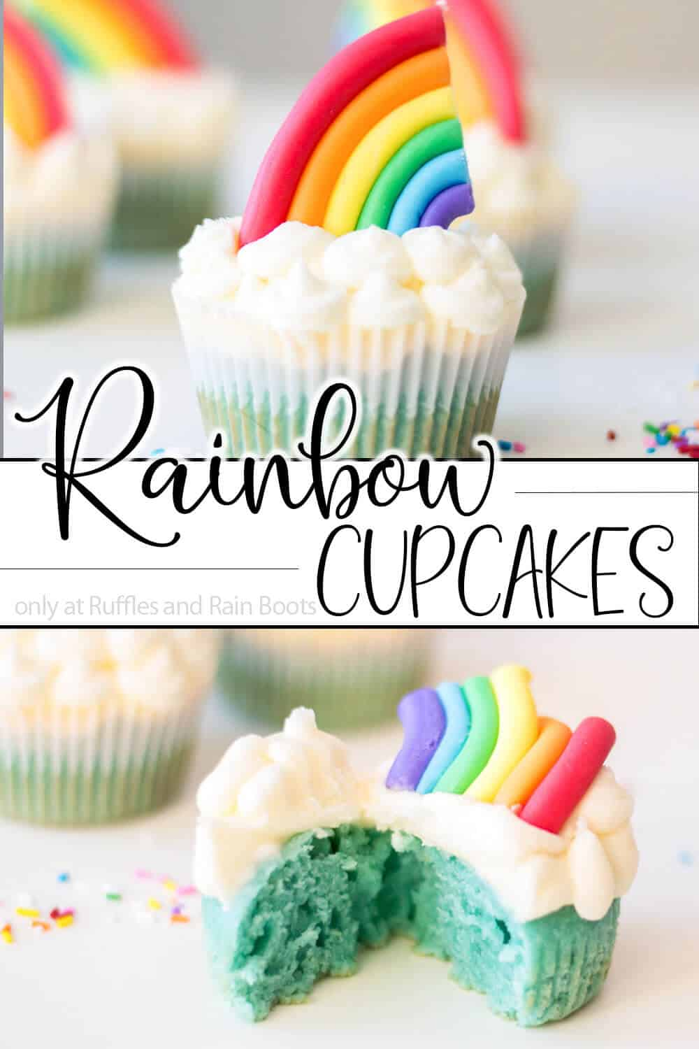 photo collage of somewhere over the rainbow cupcakes with text which reads rainbow cupcakes recipe