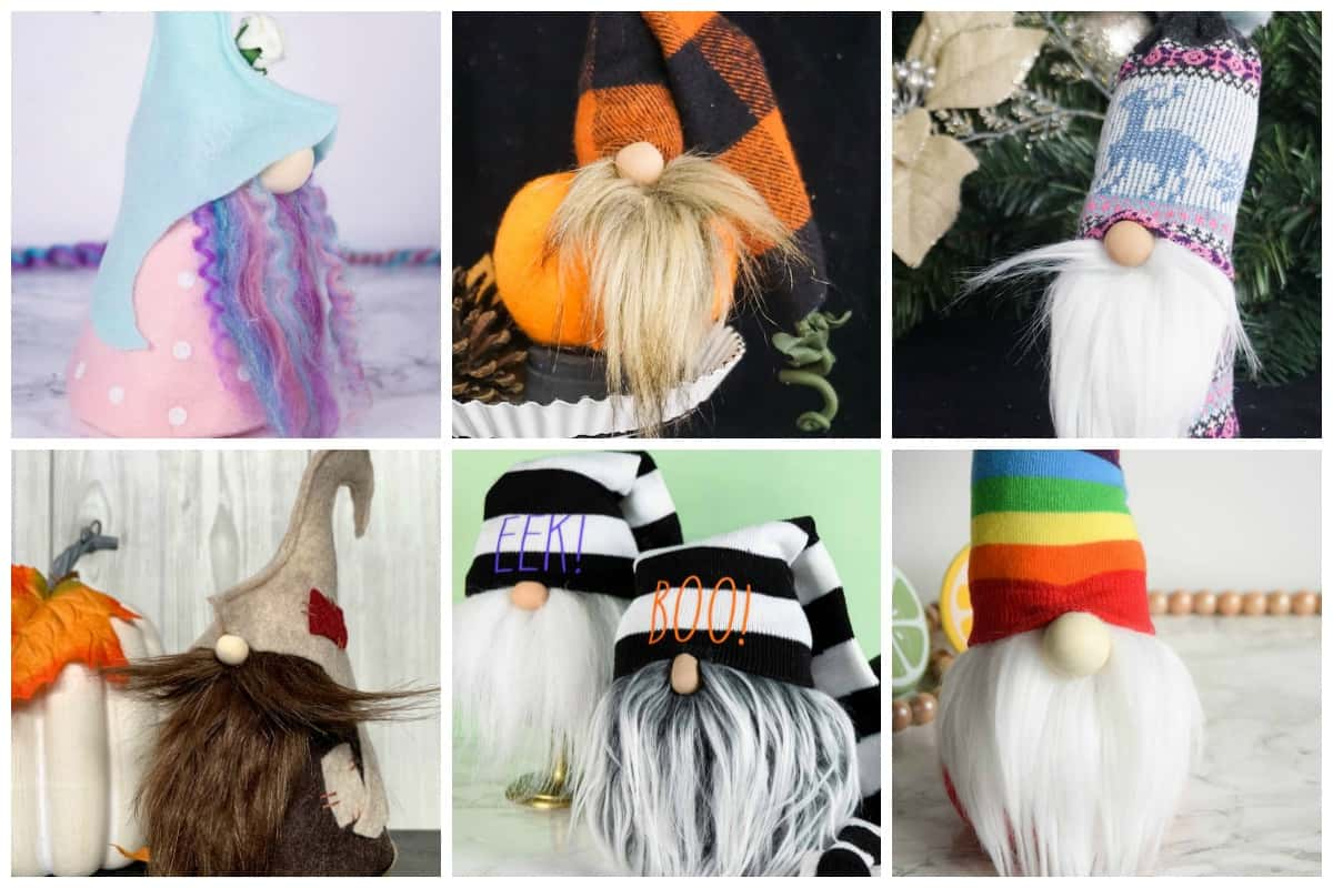 collage of different types of gnome beards using faux fur