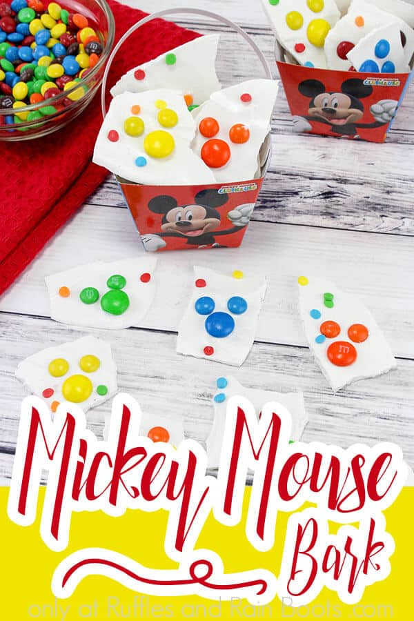 overhead view of how to make birthday party snack mickey mouse bark with text which reads mickey mouse bark