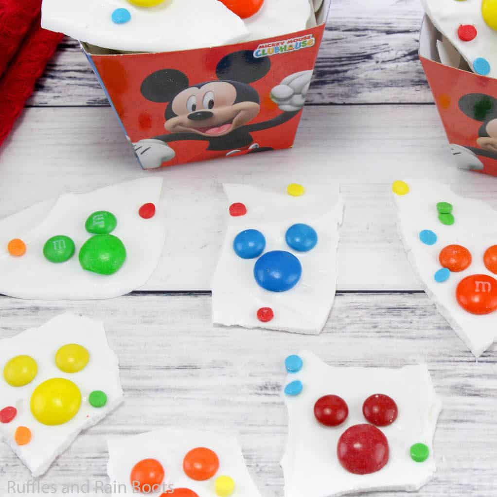 chocolate bark for a mickey mouse party