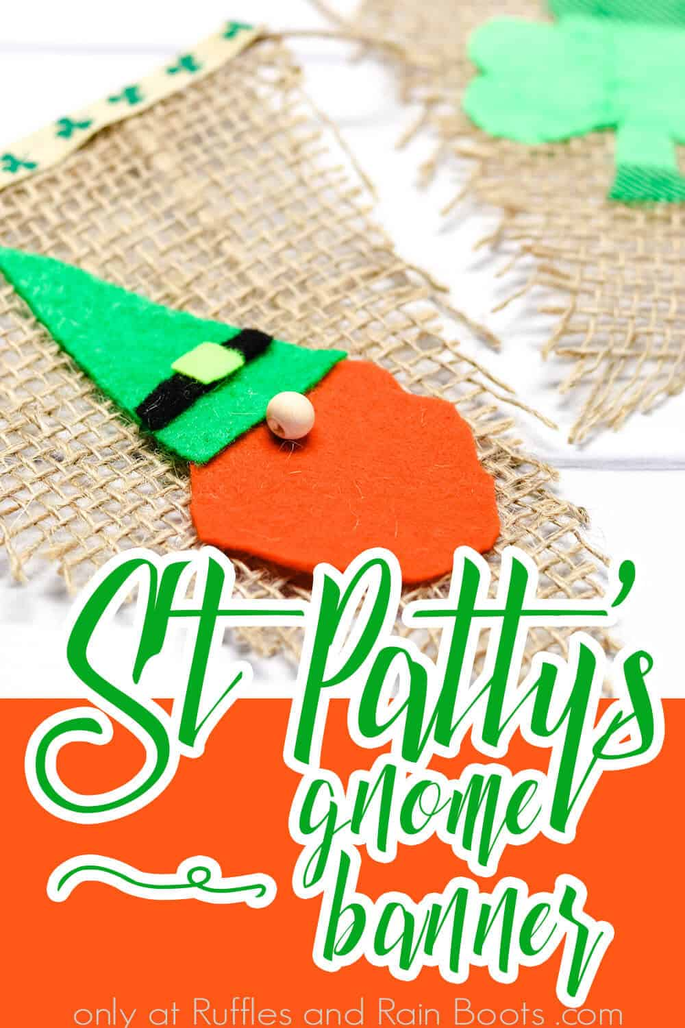 closeup of easy banner for saint patrick's day with text which reads st patty's gnome banner