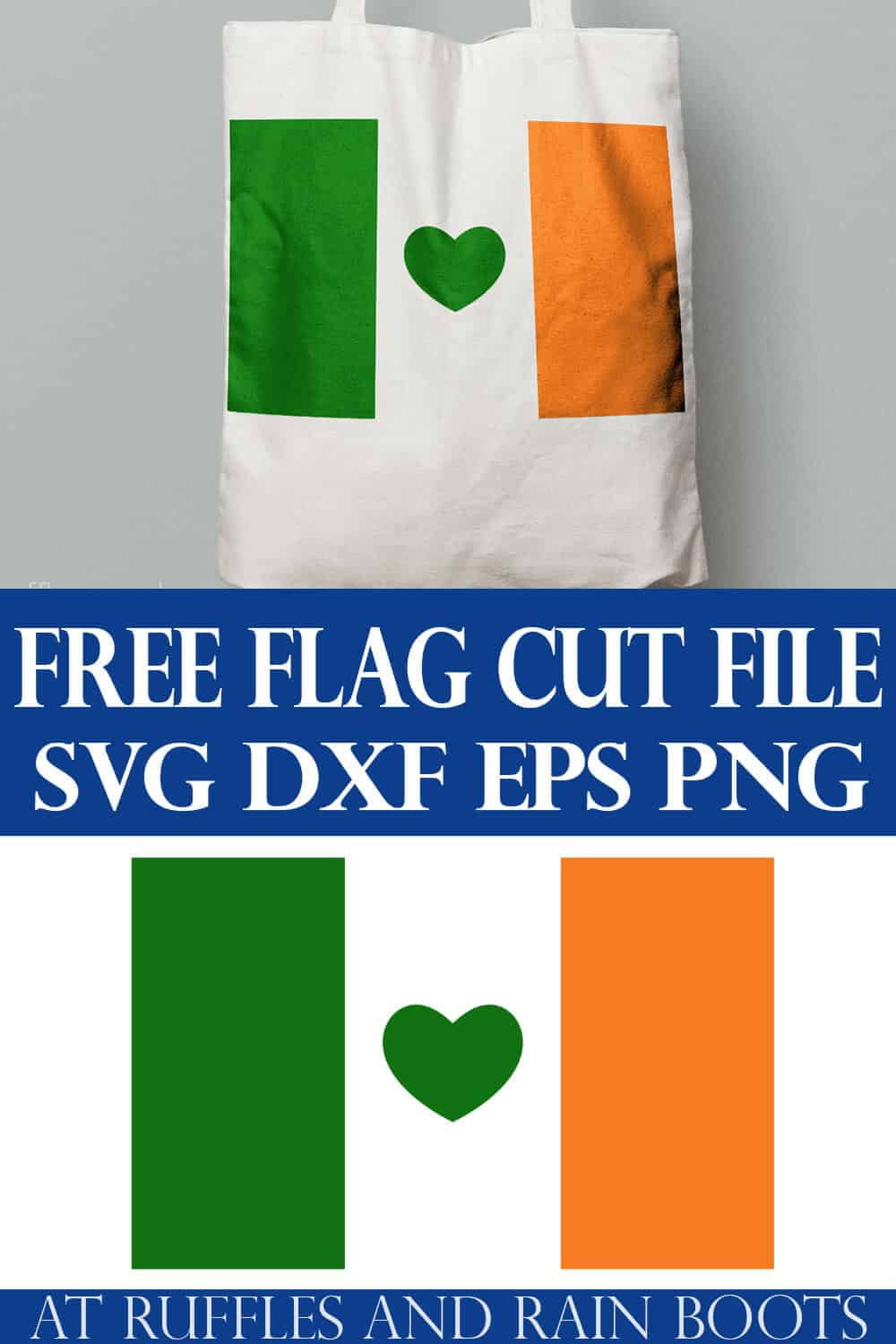 Irish flag svg with heart in green and orange SVG file for Cricut