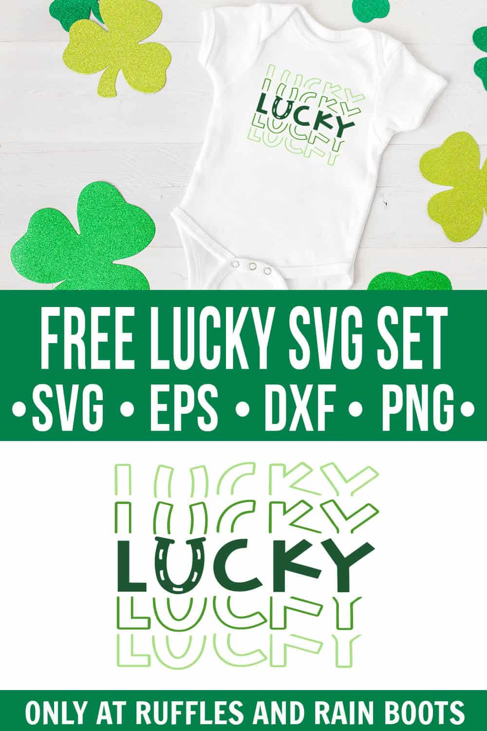 lucky svg fade file with typography on onesie with shamrock background