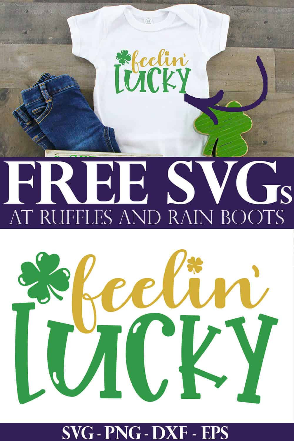 feelin lucky svg for st patricks day on white t shirt and wood background