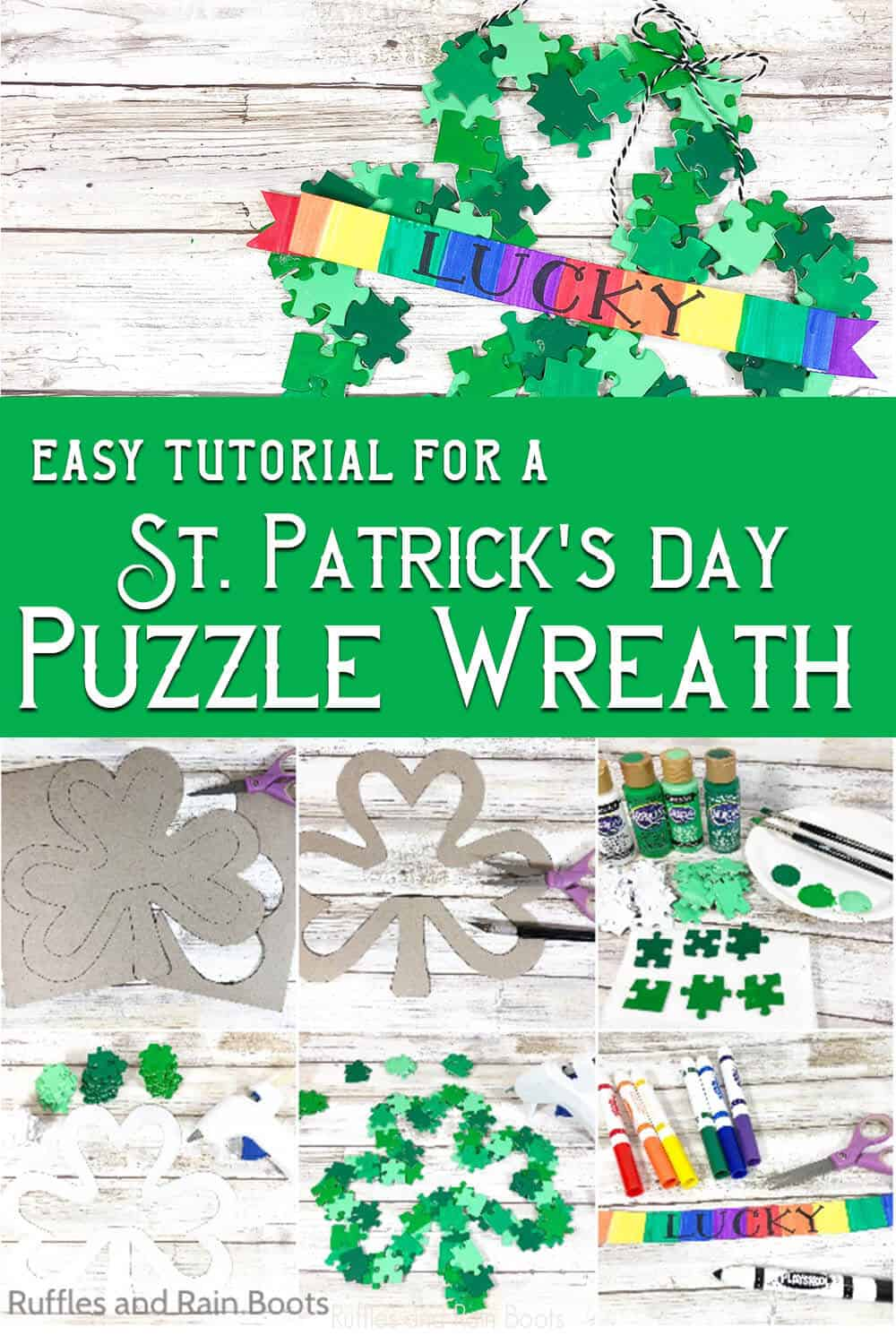 photo collage tutorial of saint patrick's day puzzle wreath with text which reads easy tutorial for a St. patrick's day puzzle wreath