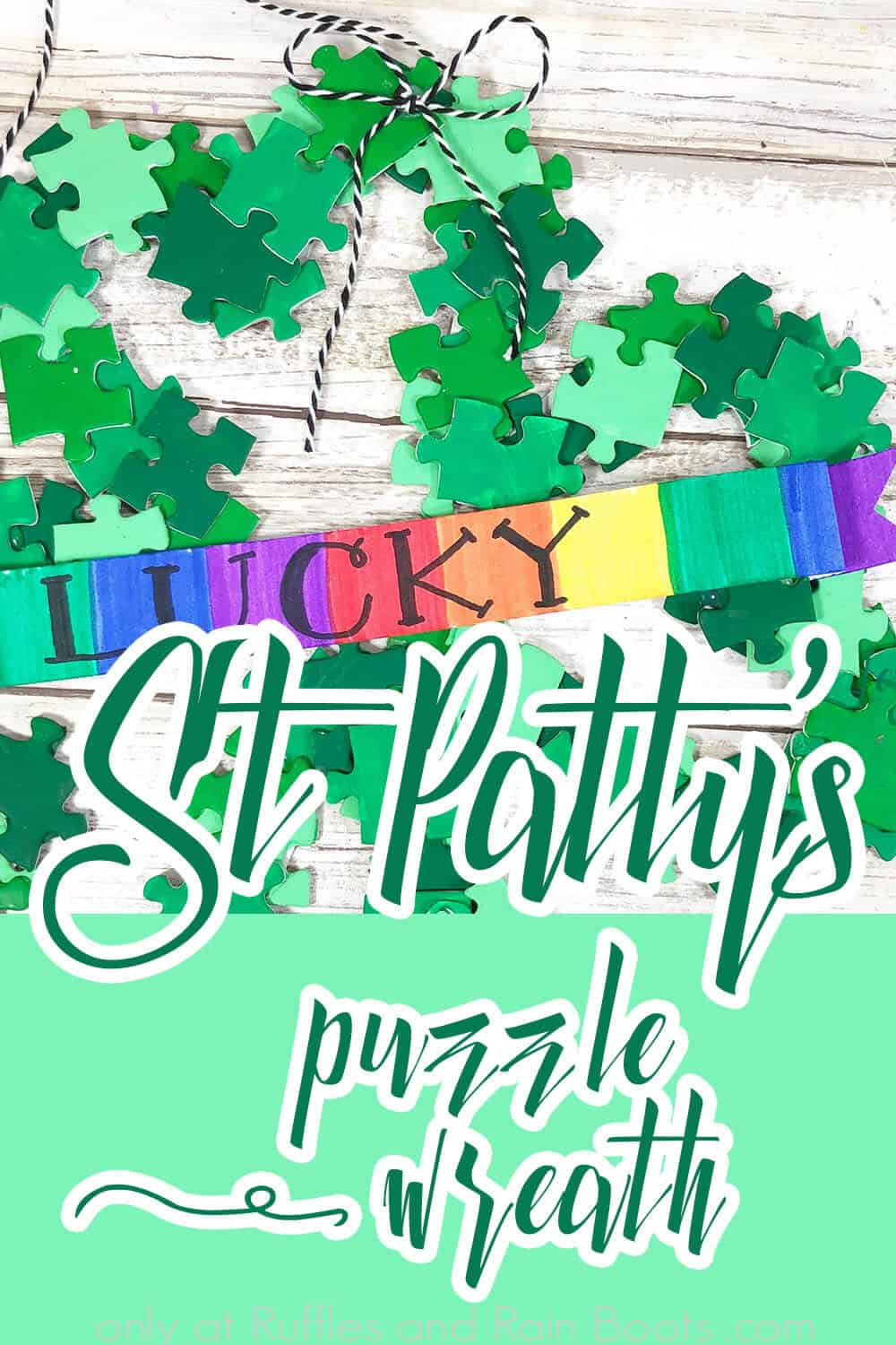 overhead view of shamrock wreath with text which reads st. patty's puzzle wreath