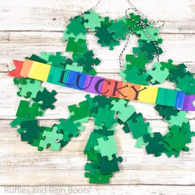 Make This Adorable Puzzle Wreath for Saint Patrick's Day!