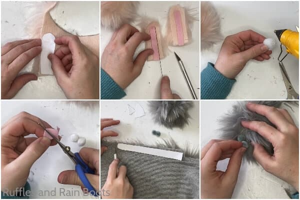 photo collage tutorial of how to make a diy pom pom pet gnome pet