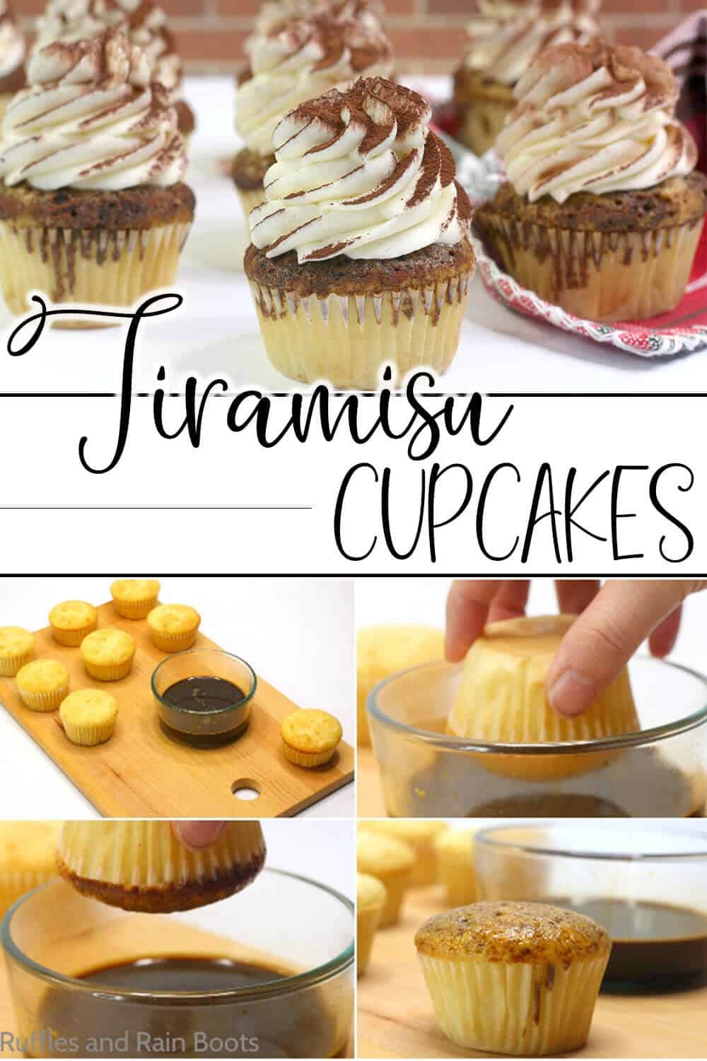 photo collage of easy cupcake recipe with coffee dip with text which reads Tiramisu Cupcakes