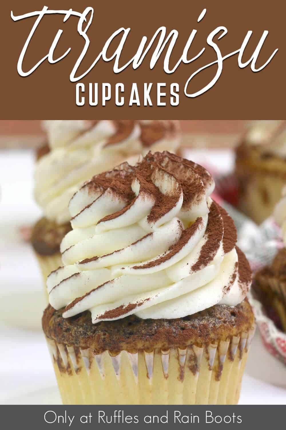 closeup of cupcake with coffee with text which reads Tiramisu Cupcakes
