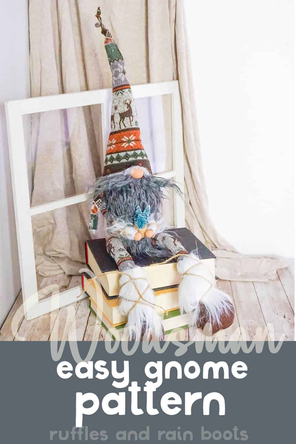nordic gnome sitting on stacked books with text which reads Woodsman easy Gnome Pattern