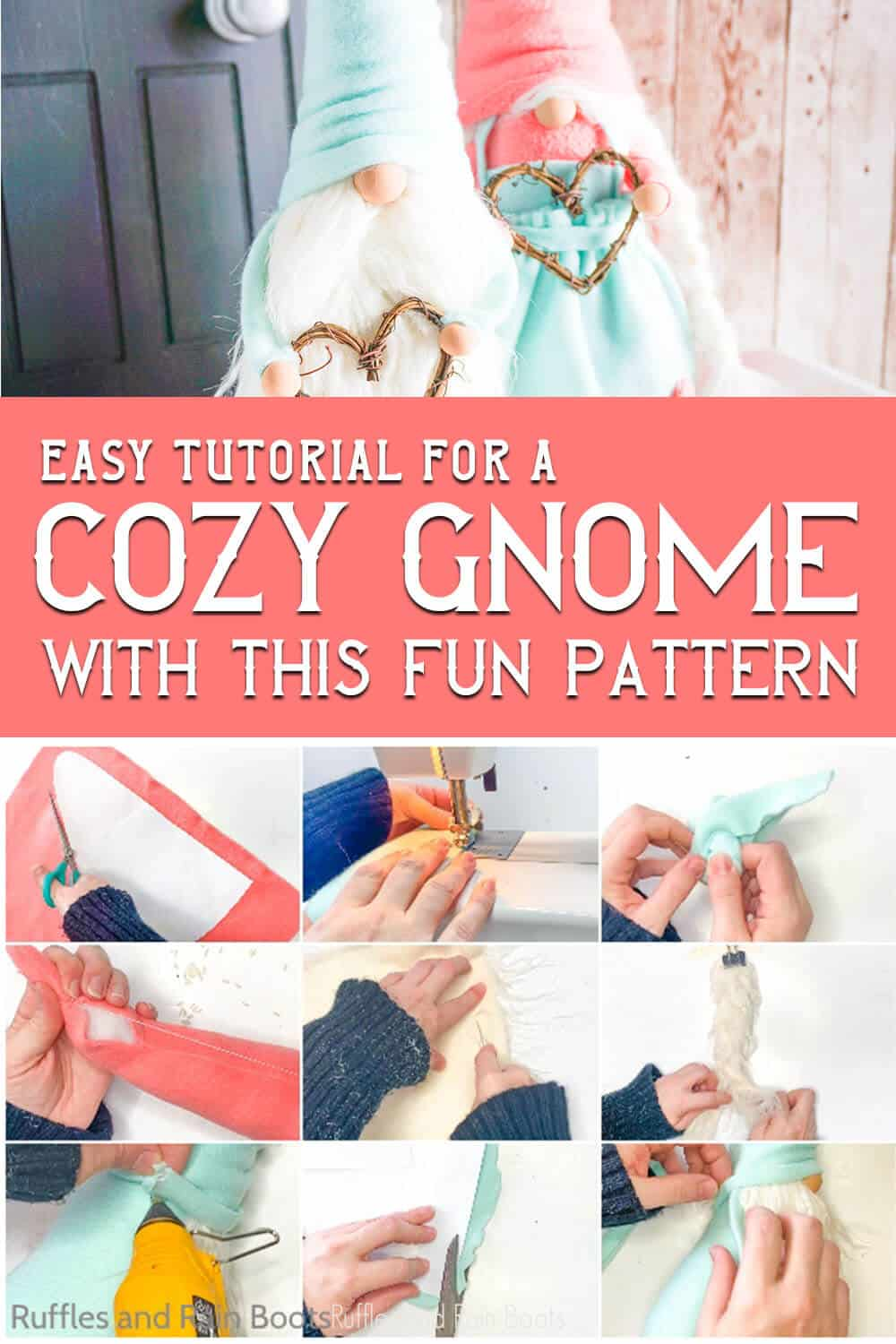 photo collage of easy diy gnome idea with text which reads easy tutorial for a cozy gnome with this fun pattern