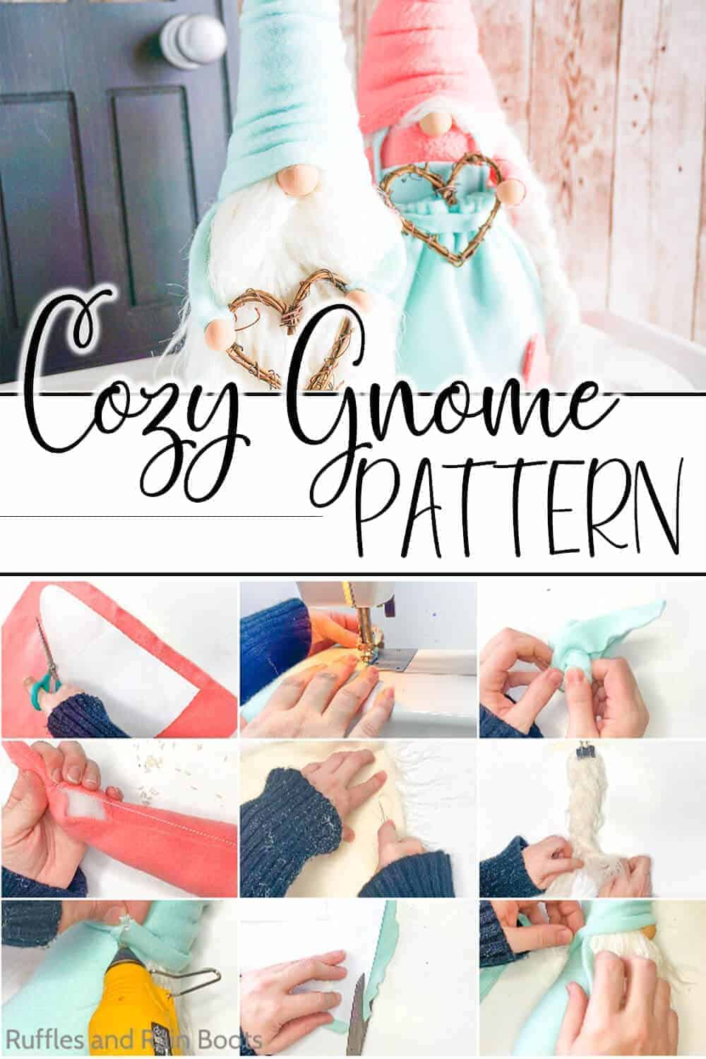 photo collage for a farmhouse gnome couple with text which reads cozy gnome pattern