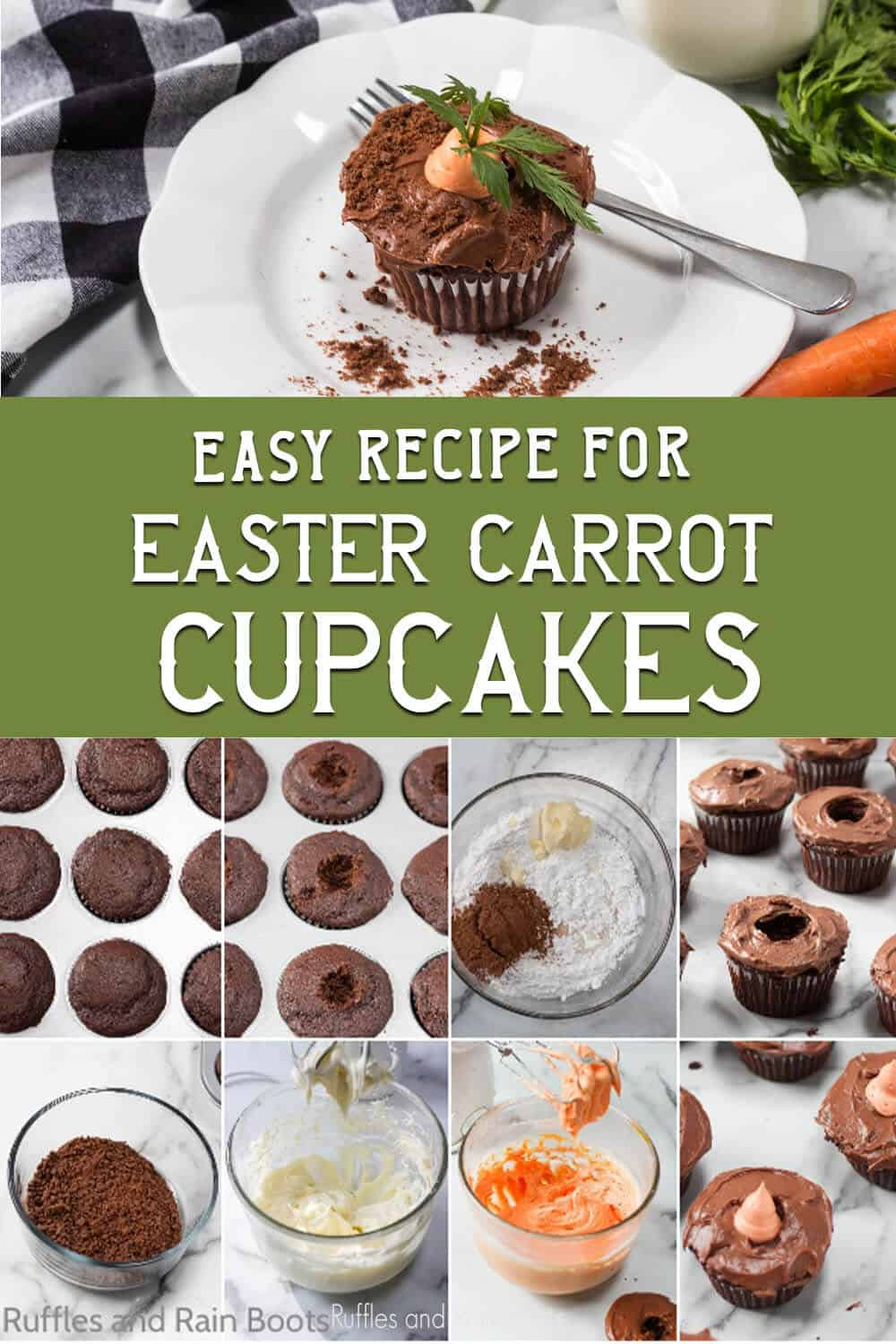 photo collage of chocolate cupcakes with a carrot on top with text which reads easy recipe for easter carrot cupcakes