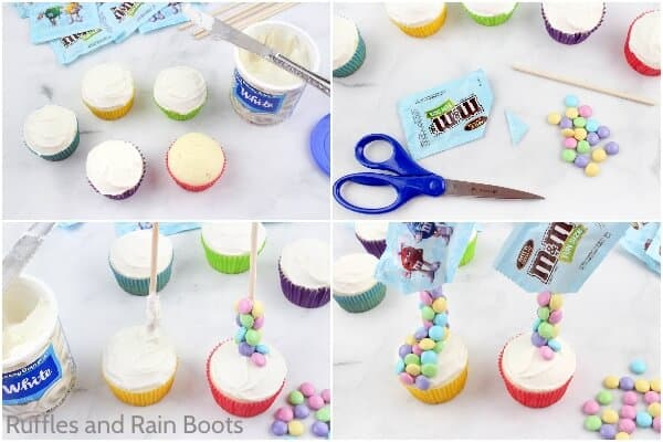 photo collage of how to make M&M spilled cupcakes