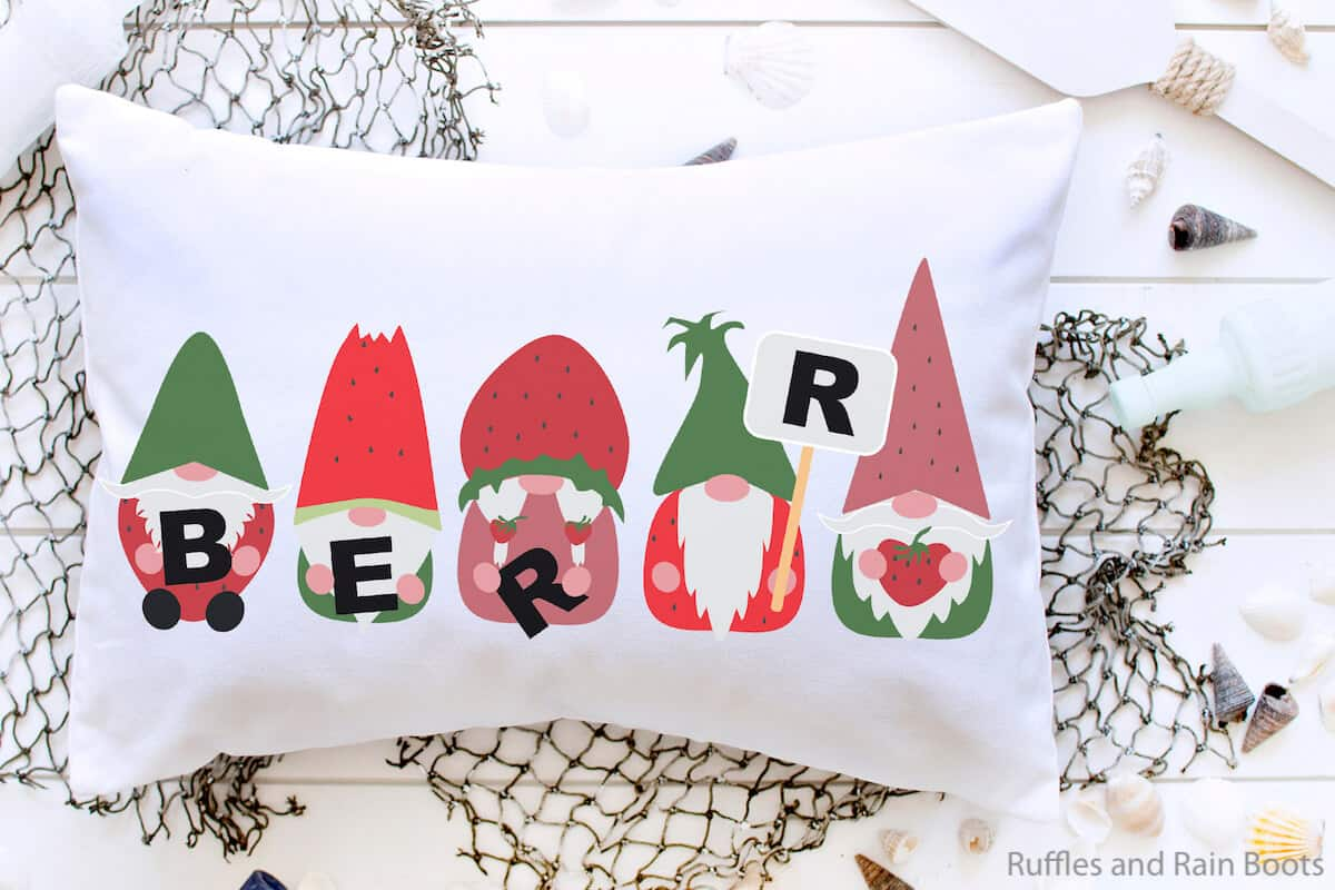 Strawberry Gnomes on a Pillow