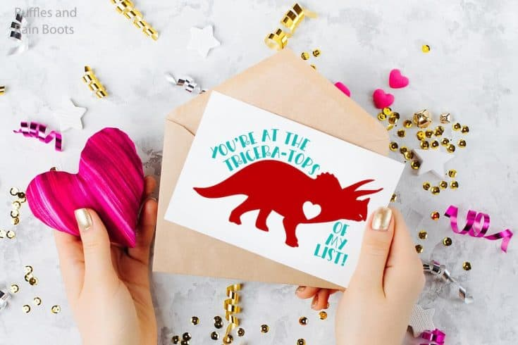 These Super Cute Dinosaur Free Valentines SVGs are SO SWEET!