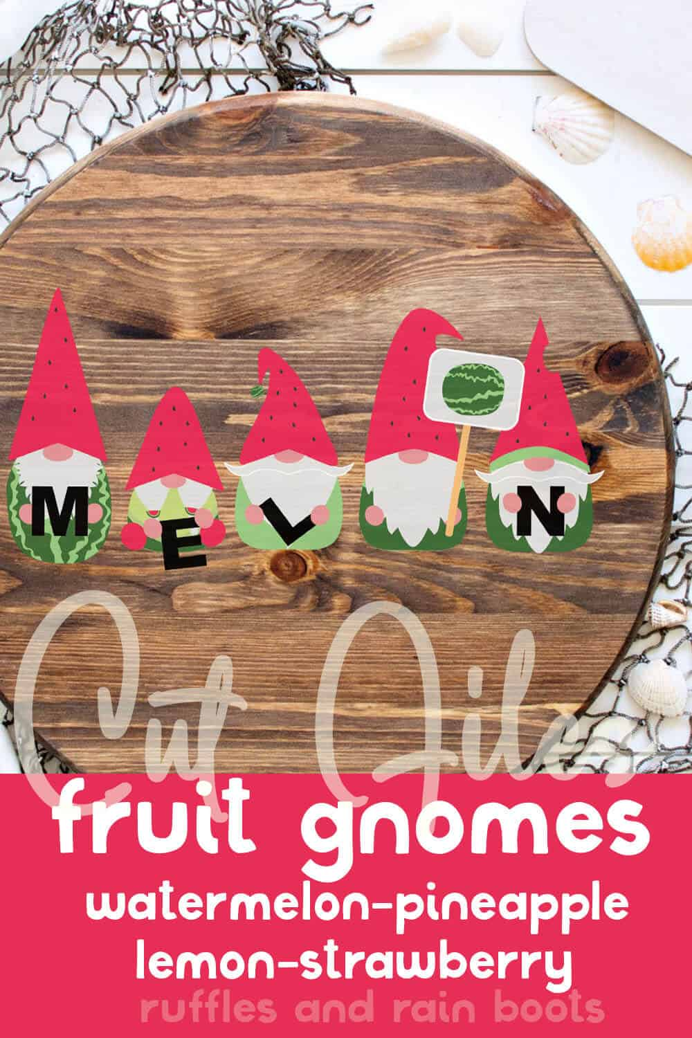 watermelon gnome svg set on a round wall sign with text which reads cut files fruit gnomes watermelon pineapple lemon strawberry